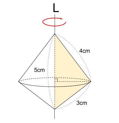 中学数学・高校受験chu-su- 空間図形 回転体 円すい+円すい 図6-2