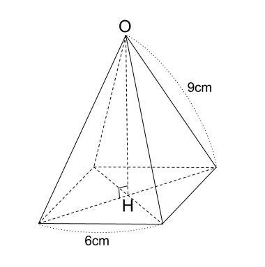 中学数学・高校受験chu-su- 四角すいの高さ 三平方の定理 図1