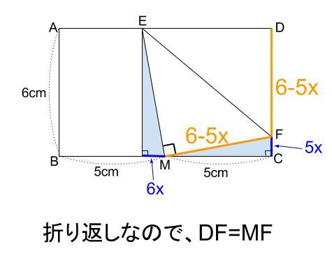 中学数学・高校受験chu-su- 折り返しと三平方の定理 図5