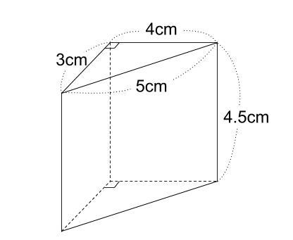 中学数学・高校受験chu-su- 三角柱の表面積 図1