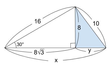 中学数学・高校受験chu-su- 三平方の定理 三角定規 例題2 図3