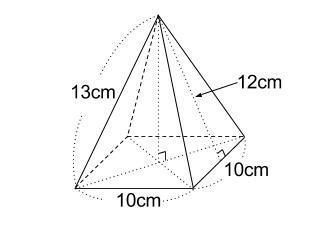 中学数学・高校受験chu-su- 四角すいの表面積 図1