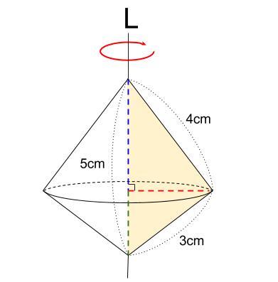 中学数学・高校受験chu-su- 空間図形 回転体 円すい+円すい 図6-3