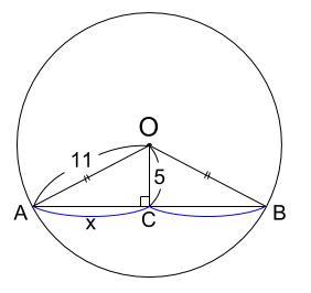 中学数学・高校受験chu-su- 三平方の定理 円と弦 図1