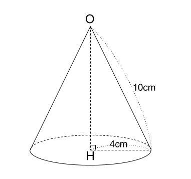 中学数学・高校受験chu-su- 円すいの高さ 三平方の定理 図1