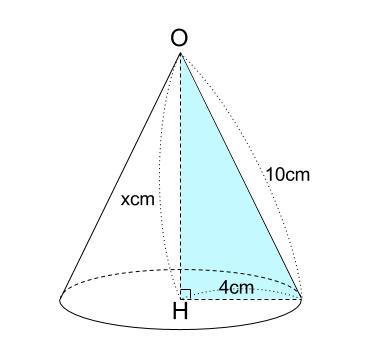 中学数学・高校受験chu-su- 円すいの高さ 三平方の定理 図2