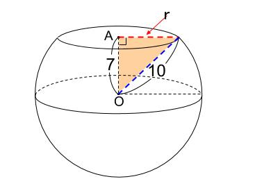中学数学・高校受験chu-su- 球の切断面 三平方の定理 図2