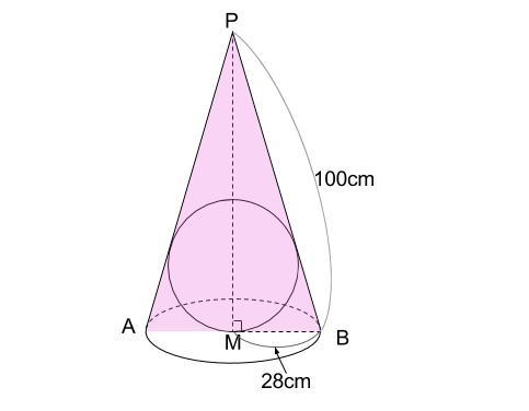 中学数学・高校受験chu-su- 円錐と内接球 図2-2