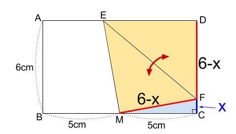 中学数学・高校受験chu-su- 折り返しと三平方の定理 図2