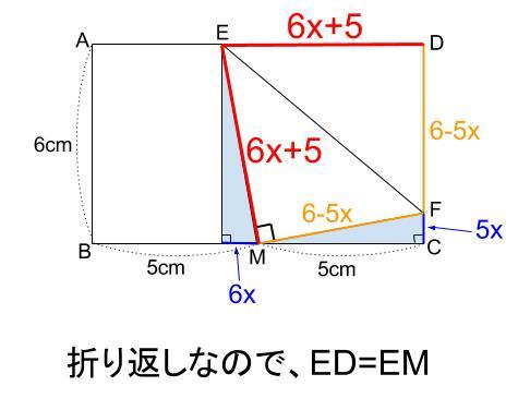 中学数学・高校受験chu-su- 折り返しと三平方の定理 図6