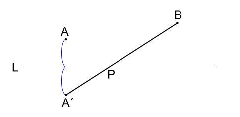 中学数学・高校受験chu-su-作図 折れ線3最短距離 図4